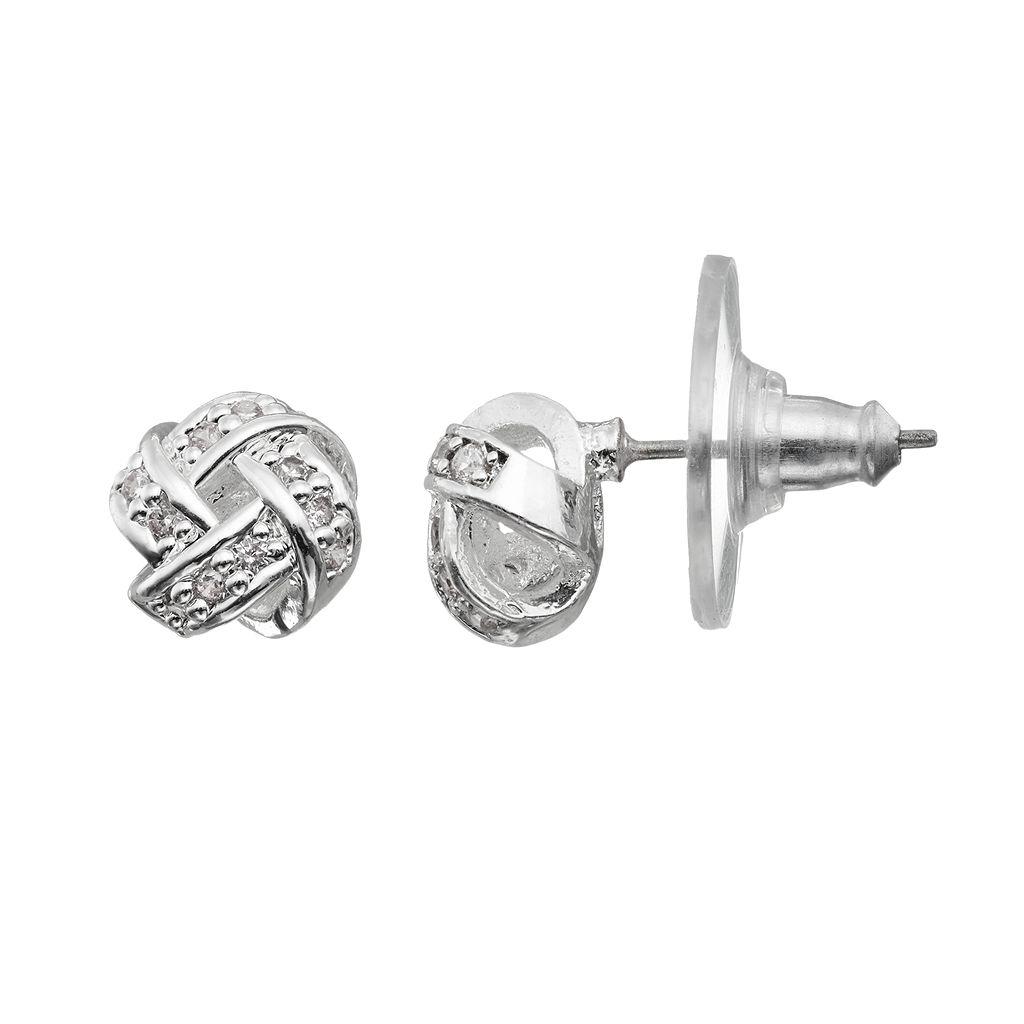 Napier Cubic Zirconia Love Knot Stud Earrings
