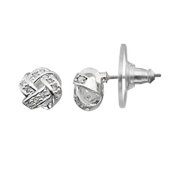 Napier Cubic Zirconia Love Knot Stud Earrings