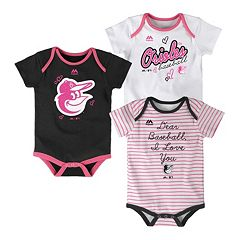 Baby Majestic Baltimore Orioles 3-Pack Bodysuits