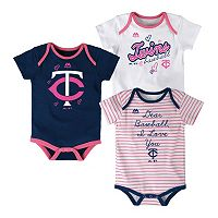 Baby Majestic Minnesota Twins 3-Pack Bodysuits