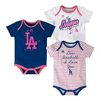 Baby Majestic Los Angeles Dodgers 3-Pack Bodysuits