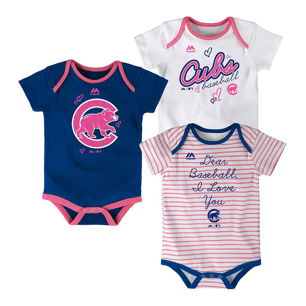Baby Majestic Chicago Cubs 3-Pack Bodysuits