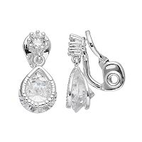 Napier Cubic Zirconia Teardrop Clip On Earrings