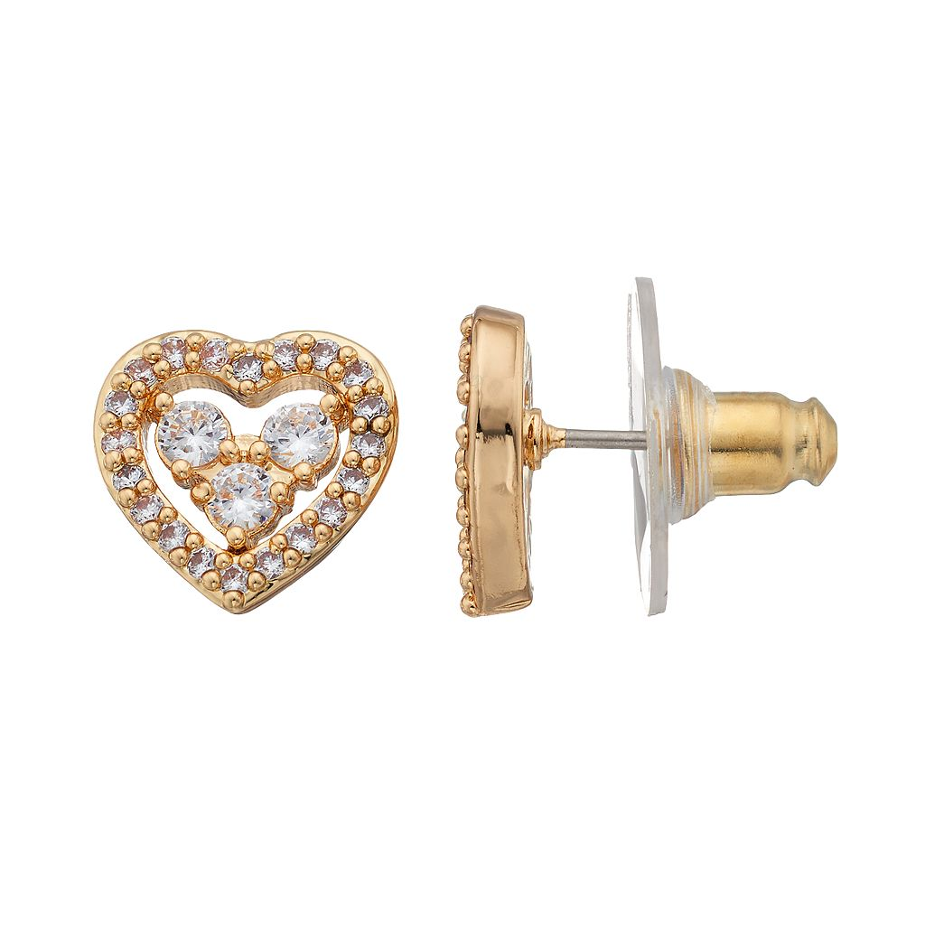 Napier Cubic Zirconia Openwork Heart Stud Earrings