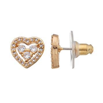 Napier Cubic Zirconia Openwork Heart Stud Earrings
