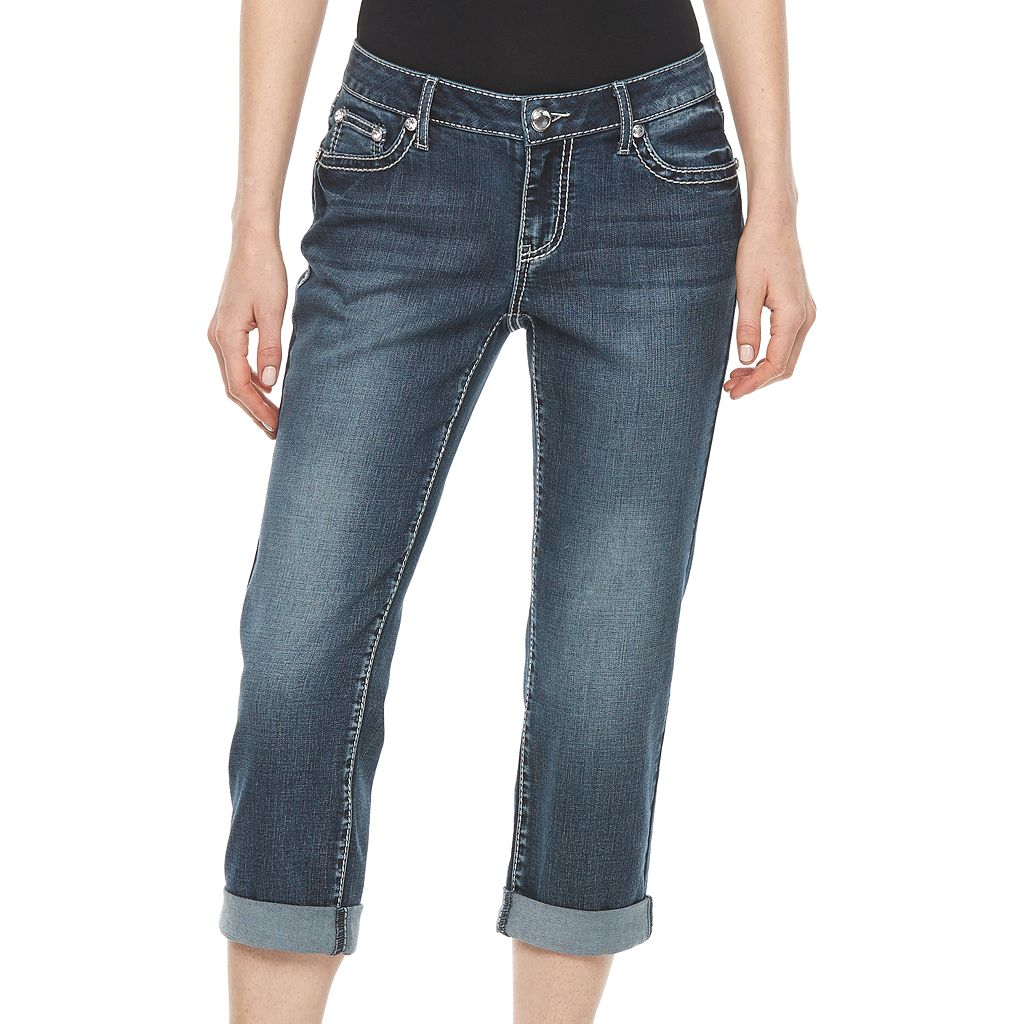 Women's Apt.9® Embroidered Capri Jeans