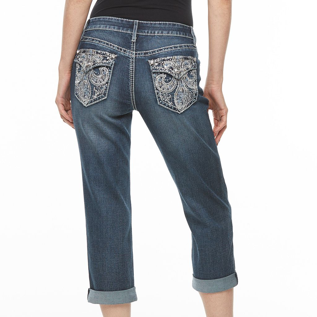 Women's Apt.9® Embroidered Capri Jeans