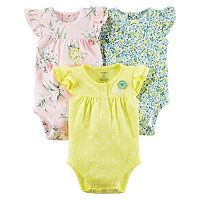 Baby Girl Carter's 3-pk. Henley & Floral Bodysuits