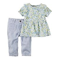 Baby Girl Carter's Floral Top & Striped Pants Set