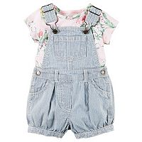 Baby Girl Carter's Floral Tee & Striped Shortalls Set