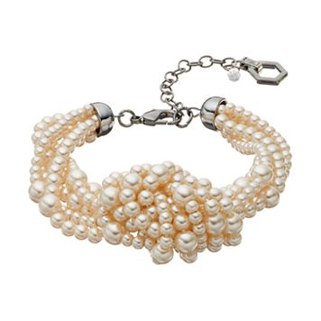 Simply Vera Vera Wang Simulated Pearl Knotted Multi Strand Bracelet