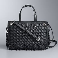 Simply Vera Vera Wang Colorblock Boswell Basketweave Satchel