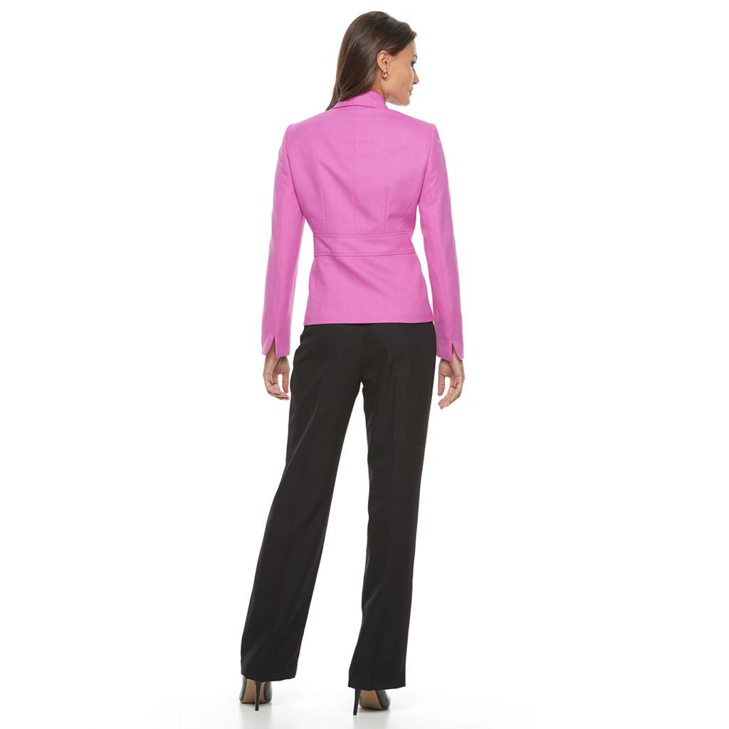 Women's Le Suit Twill Jacket & Straight-Leg Pants Set