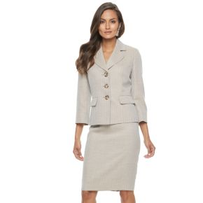Women's Le Suit Herringbone Suit Jacket & Pencil Skirt Set