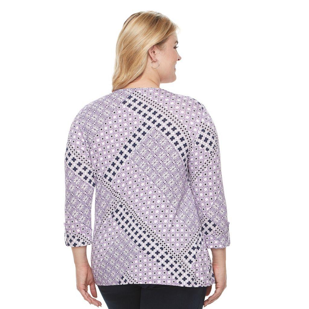 Plus Size Croft & Barrow® Side-Tie V-Neck Tee