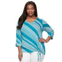 Plus Size Croft & Barrow® Side-Tie V-Neck Tee