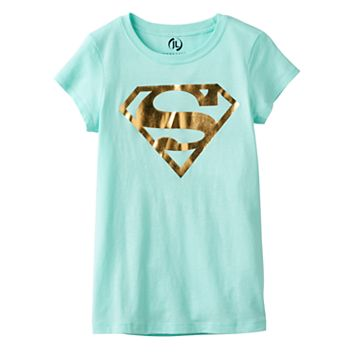 Girls 7-16 Superman Logo Foil Graphic Tee