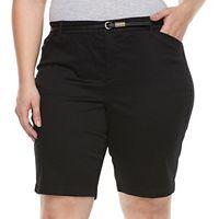 Plus Size Gloria Vanderbilt Anita Belted Bermuda Shorts