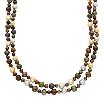 Dyed Freshwater Cultured Pearl Double Strand Necklace