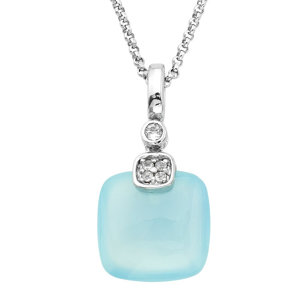 Sterling Silver Blue Agate & White Topaz Cushion Pendant Necklace