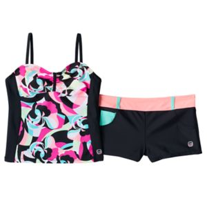 Girls 7-16 Free Country Floral Bandeaux Tankini & Shorts Swimsuit Set