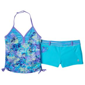 Girls 7-16 Free Country Floral Tankini & Shorts Swimsuit Set