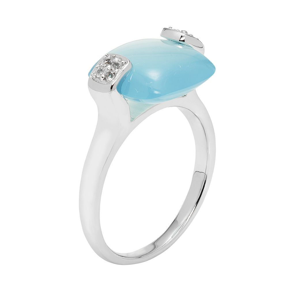 Sterling Silver Blue Agate & White Topaz Cushion Ring