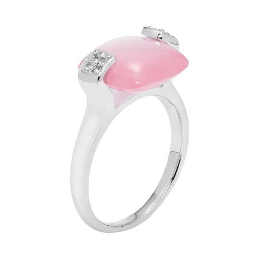 Sterling Silver Blue Pink Quartz & White Topaz Cushion Ring