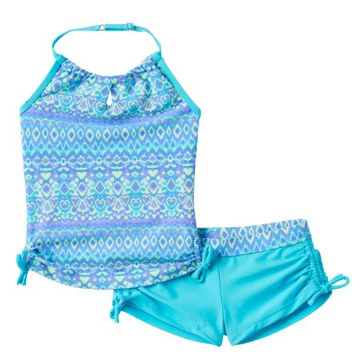 Girls 7-16 Free Country Batik Halter Tankini & Boy Shorts Swimsuit Set