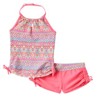 Girls 7-16 Free Country Batik Halter Tankini & Boy Shorts Swimsuit Set