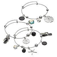 Flip-Flop, Sand Dollar & Starfish Charm Bangle Bracelet Set