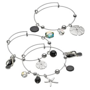 Flip-Flop, Sand Dollar & Starfish Charm Bangle Bracelet Set