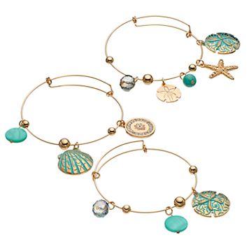 Sand Dollar, Seashell & Starfish Charm Bangle Bracelet Set