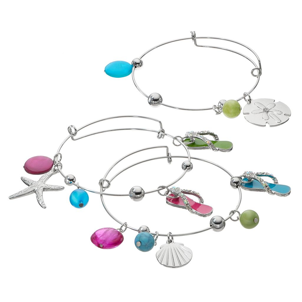 Flip-Flop, Seashell & Starfish Charm Bangle Bracelet Set