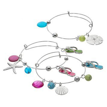 Flip-Flop, Seashell & Starfish Charm Bangle Bracelet Set