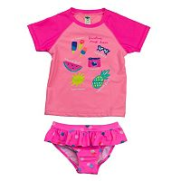 Girls 4-6x Carter's Graphic Rashguard & Polka-Dot Ruffled Bottoms Swimsuit Set