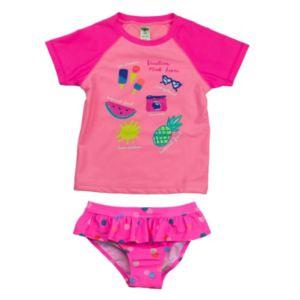 Girls 4-6x Carter's Graphic Rashguard & Polka-Dot Ruffled Bottoms Swimsuit Set