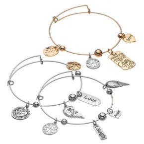 """Best Friends"" Heart Charm Bangle Bracelet Set"