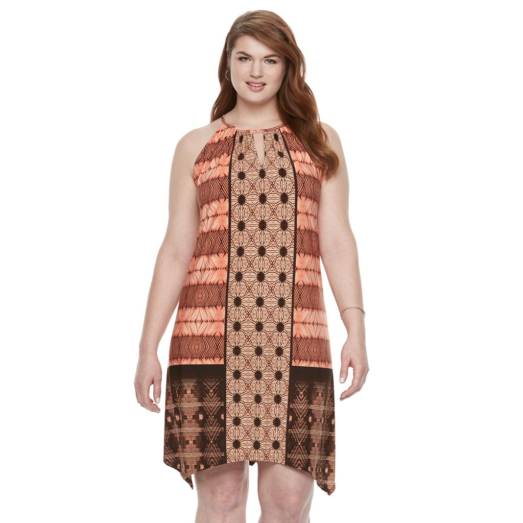 Plus Size Suite 7 Batik Patchwork Hankerchief Hem Dress
