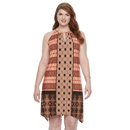Plus Size Suite 7 Batik Patchwork Hankerchief Hem Dress