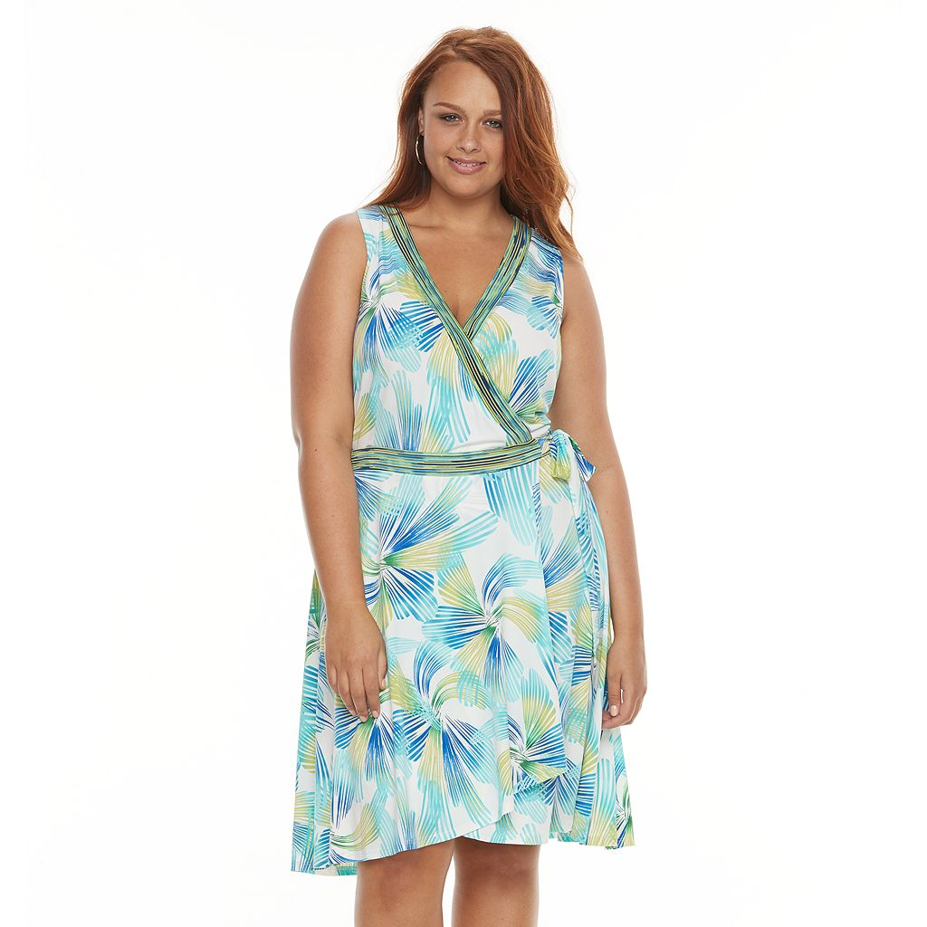 Plus Size Suite 7 Swirl Faux-Wrap Dress