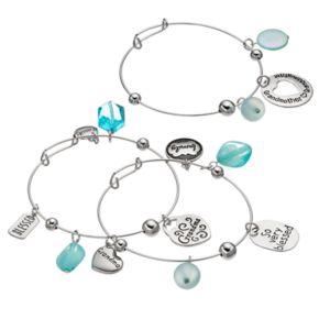 """Grandma"" Heart Charm Bangle Bracelet Set"