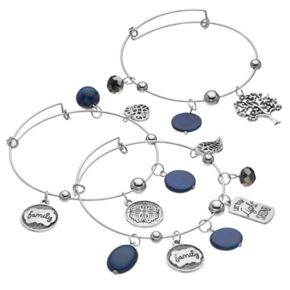 """Family"" Tree Charm Bangle Bracelet Set"