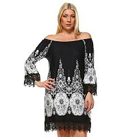 Plus Size White Mark Print Off-The-Shoulder Dress