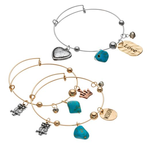 """Wisdom"" & ""Love"" Turquoise Bangle Bracelet Set"