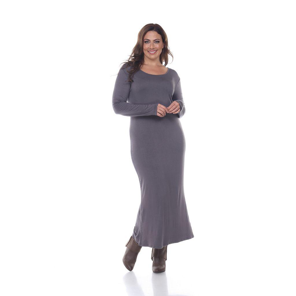 Plus Size White Mark Solid Maxi Dress