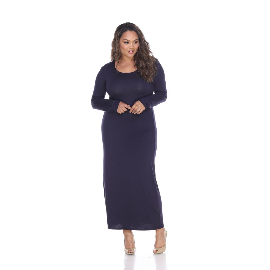 Plus Size White Mark Solid Maxi Dress