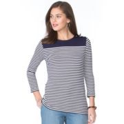 Petite Chaps Striped Button-Shoulder Tee