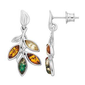 Sterling Silver Amber Leaf Drop Earrings