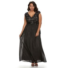 Plus Size Chaya Sequin Lace Evening Gown
